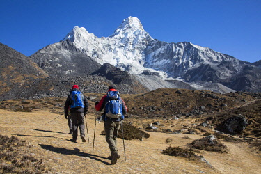 NEP2194 Ama Dablam, Nepal. The stunning pyramid of Ama Dablam at 6812m is regarded as one of the world's most exquisite and sought after peaks.