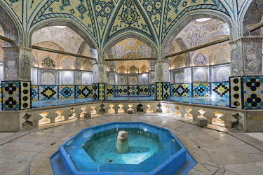 IRA1218 Iran, Kashan. The ornately decorated interior of Sultan Amir Ahmad Bathhouse. The bathhouse was constructed in 16th century and renovated after earthquake damage in 1778.