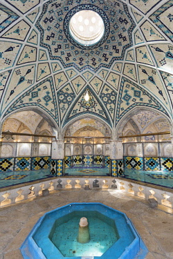 IRA1220 Iran, Kashan. The ornately decorated interior of Sultan Amir Ahmad Bathhouse. The bathhouse was constructed in 16th century and renovated after earthquake damage in 1778.