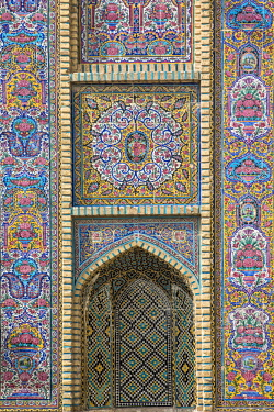 IRA1306 Iran, Shiraz. An exquisitely tiled wall of Nasir al-Mulk Mosque, known as the Pink Mosque due to the predominant colour of its tiles.  The mosque was built between 1876 and 1888.