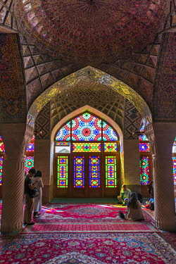 IRA1312 Iran, Shiraz. A stained glass window of the exquisite interior of the Nasir al-Mulk Mosque, known as the Pink Mosque due to the predominant colour of its tiles.  The mosque was built between 1876 and...
