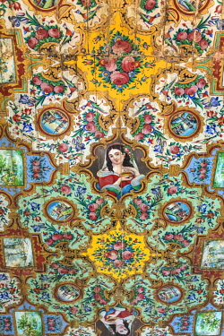 IRA1317 Iran, Shiraz. A finely painted ceiling in an upstairs room of Zinat ol-Mok mansion, the former living quarters of the wealthy owner of the next door Naranjestan-e Ghavam pavilion, also known as Qavan...