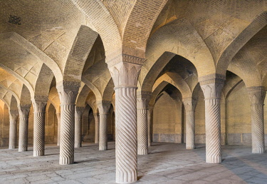 IRA1331 Iran, Shiraz. The vaulted brick ceiling and beautifully carved columns of the prayer hall of the Vakil Mosque.