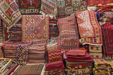 IRA1334 Iran, Shiraz. An impressive array of carpets and rugs for sale in Vakil Bazar.