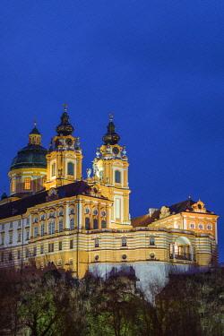 AU04499 Austria, Lower Austria, Melk, Melk Abbey, dusk