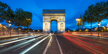 FRA10033AW Champs Elysees & Arc de Triomphe at dusk, Paris, France