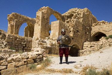 JOR0488 Shobak, Jordan. An actor dressed in Crusader costume at the Castle of Shobak, built in AD 1115 by the Crusader King Baldwin I