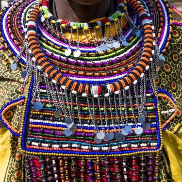 AF21EWI0145 Africa, Kenya, Masai Mara National Reserve, Mara Ashnil region. Masai tribal jewelry and ornamentation.