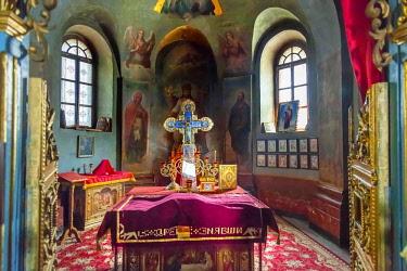 AS43WPE0065 Ancient mosaics. Rectory Saint Michael Vydubytsky Monastery, Kiev, Ukraine. Saint Michael's is the oldest functioning Orthodox Monastery in Kiev. The original monastery was created in the 10th Century...