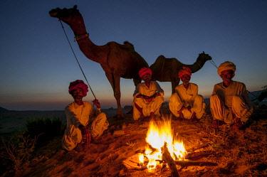 AS10AWO0022 Evening fire, Pushkar Fair, India