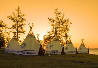 AS25TNO0137 Teepees at sunrise, Lake Hovsgol, Mongolia.