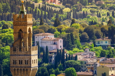 EU16RBS0165 Bell tower and houses, Florence, Tuscany, Italy