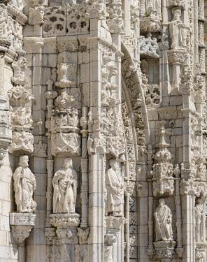 EU23MZW0065 Mosteiro dos Jeronimos or Jeronimos Monastery in Belem, part of the UNESCO World Heritage Site. The Manueline south portal. Lisbon (Lisboa) the capital of Portugal.