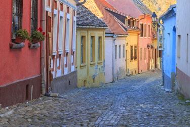 EU24EWI0202 Romania, Sighisoara, cobblestone residential street of colorful houses in village. UNESCO World Heritage Site.