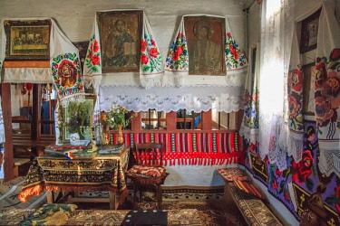EU24EWI0283 Romania, Maramures County, Rogoz, Wooden church of Rogoz, built 1663 AD. Inside the sanctuary. UNESCO