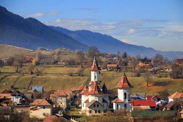 EU24EWI0377 Romania, Bucovina, Campulung Moldovenesc, Fall colors.