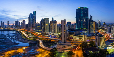 PN01141 City skyline illuminated at dusk, Panama City, Panama, Central America
