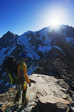 FRA10089 Europe, France, Haute Savoie, Rhone Alps, Chamonix, climber on Domes des Miages ridge and Mont Blanc (4810m) MR