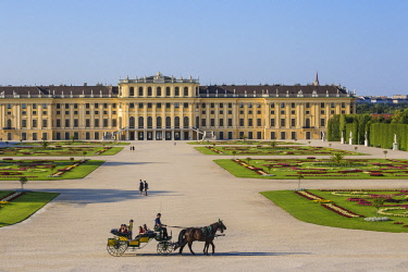 AU01508 Austria, Vienna, Horse and Cart at Schonbrunn Palace - a former imperial summer residence