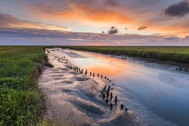 GER10184AW Westerhever, Eiderstedt, North Frisia, Schleswig-Holstein, Germany. Tidal water canals at sunset.