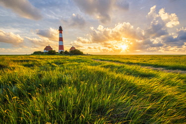 GER10191AW Westerhever lighthouse, Eiderstedt, North Frisia, Schleswig-Holstein, Germany.