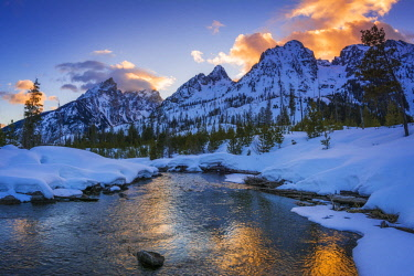 US51RBS0016 Evening light over the Tetons from Cottonwood Creek in winter, Grand Teton National Park, Wyoming, USA