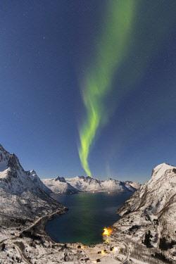 CLKFM58683 Northern lights at Mefjordbotn,Berg,Senja,Norway,Europe