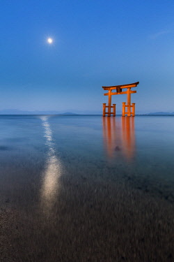 Tori gate on Lake Biwa, Shiga prefecture, Japan