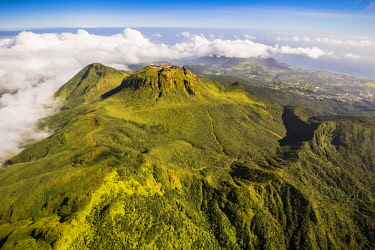 French West Indies, Guadeloupe, Basse Terre, Saint Claude, the clear top of La Soufriere, nicknamed the vie madanm in Guadeloupean Creole or the old lady in French, is an active volcano located in the...