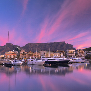 SAF7099AW V+A Waterfront Marina at sunset, Cape Town, Western Cape, South Africa