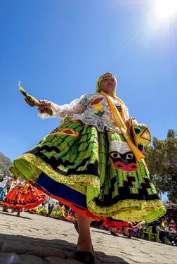 BOL8678AW Dancer in Traditional Costume, Fiesta de la Virgen de la Candelaria, Copacabana, La Paz Department, Bolivia