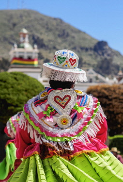 BOL8685AW Dancer in Traditional Costume, Fiesta de la Virgen de la Candelaria, Copacabana, La Paz Department, Bolivia