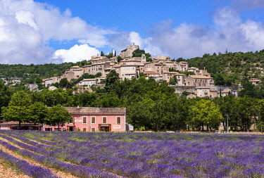FRA10122AW Simiane-la-Rotonde, a typical Provencal hilltop village, Provence, France