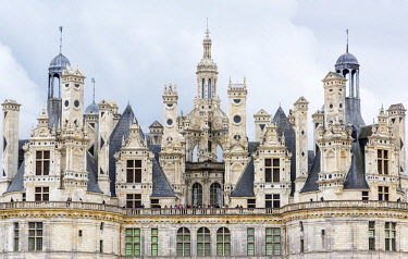 FRA10131AW Chimneys and towers of Chateau de Chambord, the largest chateau in the Loire Valley, Loir-et-Cher, France
