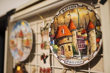 EST1228AW Souvenir plate for sale, Old Town, Tallinn, Estonia, Europe