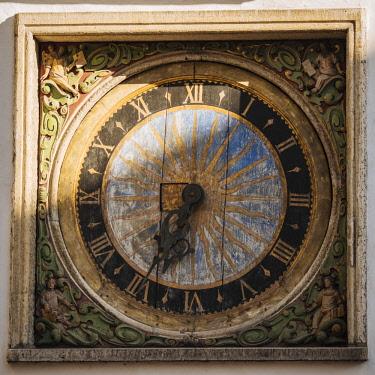 EST1229AW Town Hall Clock, Old Town, Tallinn, Estonia, Europe