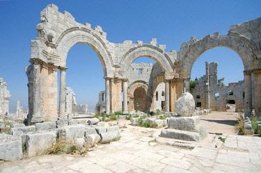 IBLAAA03764900 Remains of the pillar of Saint Simeon Stylites, Church of Saint Simeon Stylites, near Aleppo, Syria, Asia