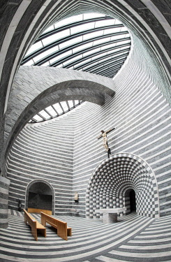 IBLAHL04028519 Interior of the Church of San Giovanni Battista, architect Mario Botta, Fusio, Mogno, Lavizzara, Canton of Ticino, Switzerland, Europe