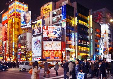 IBLALX03885181 Urban street scene at night, Akihabara, Tokyo, Japan, Asia