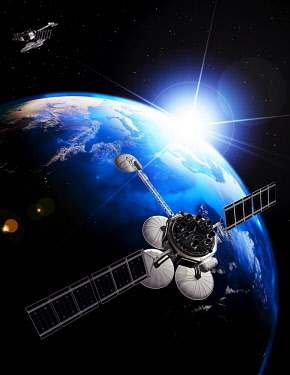 Communications satellite, Comsat, in front of Earth globe lit by the rising sun on black starry sky, 3D illustration