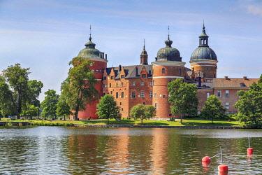 IBLANT04073476 Gripsholm Castle reflected in Lake Malaren, Mariefred, Strangnas S dermanland ln, near Stockhom, Sweden, Europe
