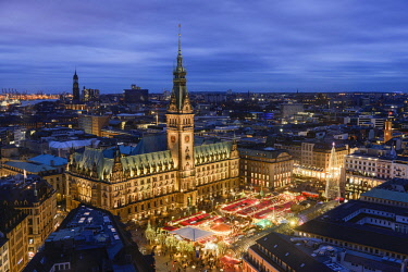 IBLBDY03954564 Town hall and Christmas Market, Hamburg, Germany, Europe