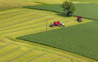 IBLBLO03727163 Harvesting, aerial view, Ruthen, North Rhine-Westphalia, Germany, Europe