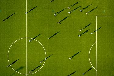 IBLBLO03831577 Aerial view, astro turf football pitch in Dortmund-Lütgendortmund, Dortmund, Ruhr Area, North Rhine-Westphalia, Germany, Europe