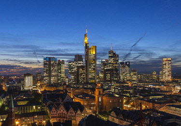 Views of the city skyline at dusk and lit skyscrapers, city centre, Frankfurt am Main, Hesse, Germany, Europe