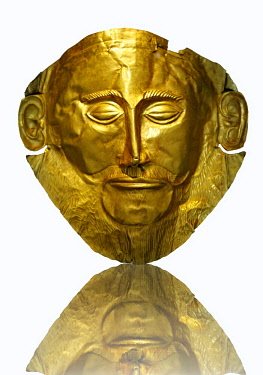 IBLPWN03747756 16th century BC gold death mask known as the ^Mask of Agamemnon^ from Grave V, Grave Circle A, Mycenae, Athens, Greece, Europe