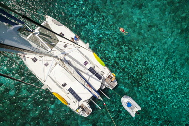 IBLIKU03914677 Catamaran, bird's eye view, Petite Terre, Guadeloupe, French overseas region, Caribbean.