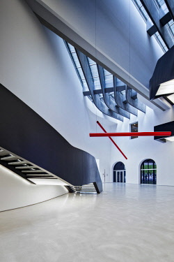 ITA11231 Reception hall of the interior of the MAXXI Museum designed by the Architect Zaha Hadid, Flaminio, Borgata Ottavia, Rome, Lazio, Italy.