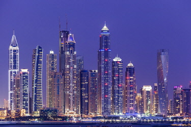 UAE0478 Panorama of the JBR Beach and Marina skyline at twilight, Dubai Marina, Dubai, United Arab Emirates.