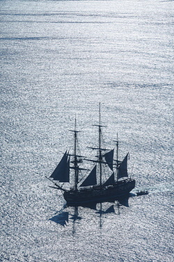 HMS2066233 France, Charente Maritime, Ars en Re, L'Hermione frigate, replica of the three masts which brought the marquis de Lafayette to America in 1780 (aerial view)